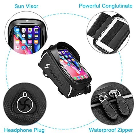 51qrRQF1ZIL. AC  - Bike Phone Front Frame Bag - Waterproof Bicycle Top Tube Cycling Phone Mount Pack Phone Case for 6.5'' iPhone Plus xs max