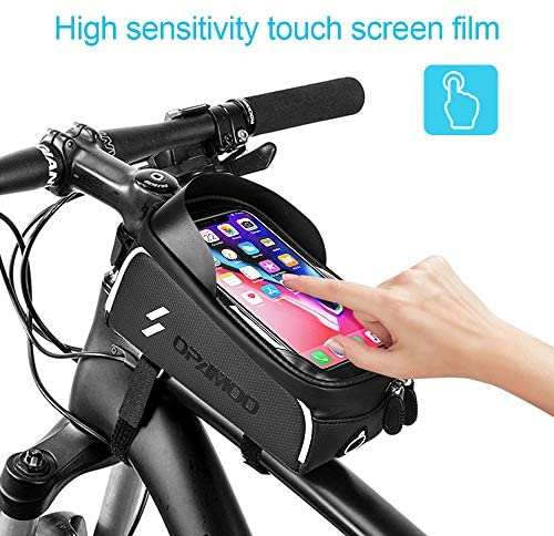 51sktZD6zIL. AC  - Bike Phone Front Frame Bag - Waterproof Bicycle Top Tube Cycling Phone Mount Pack Phone Case for 6.5'' iPhone Plus xs max