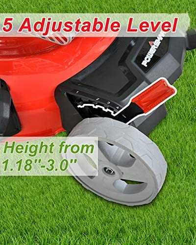 51t7ZFZ29dL. AC  - PowerSmart Lawn Mower, 21-inch & 170CC, Gas Powered Push Lawn Mower with 4-Stroke Engine, 2-in-1 Gas Mower in Color Red/Black, 5 Adjustable Heights (1.18''-3.0''), DB2321CR
