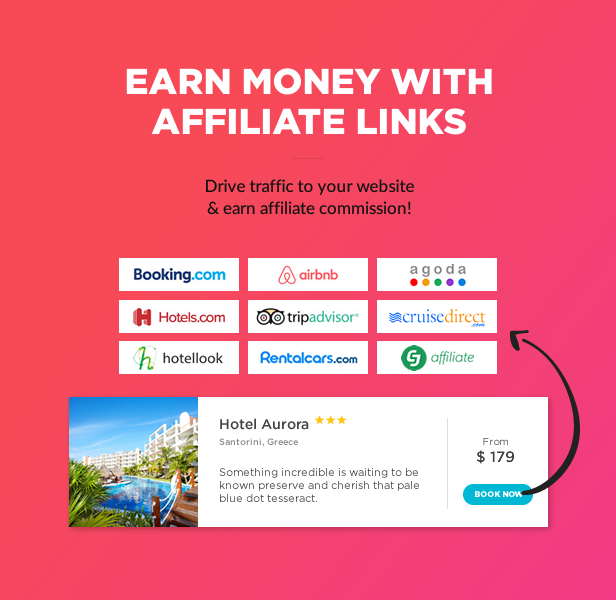 affiliate links support1 - Book Your Travel - Online Booking WordPress Theme