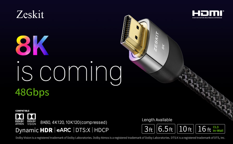 b511200b 39c9 4189 9371 da4afef264f3.  CR0,0,970,600 PT0 SX970 V1    - Zeskit 8K Ultra HD High Speed 48Gpbs HDMI Cable 6.5ft, 8K60 4K120 144Hz eARC HDR10 4:4:4 HDCP 2.2 & 2.3 Compatible with Dolby Vision Xbox PS4 PS5 Apple TV 4K Roku Fire TV Switch Vizio Sony LG Samsung