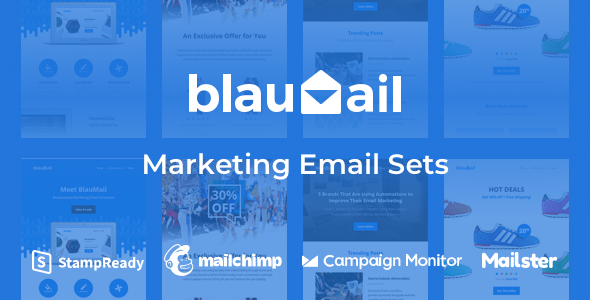 blau product cover.  large preview - Blaumail - Marketing Email Sets + Notification Pack
