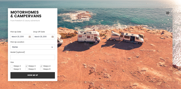 byt motorhomes - Book Your Travel - Online Booking WordPress Theme