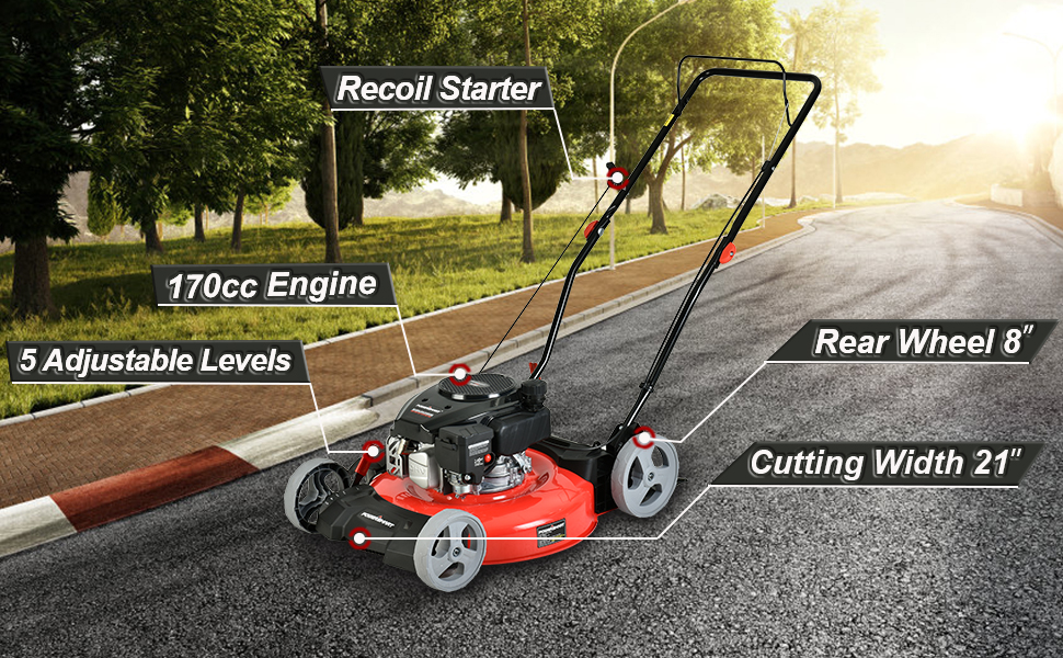 c429f694 c18c 4726 a543 2c4cb88f95f8.  CR0,0,970,600 PT0 SX970 V1    - PowerSmart Lawn Mower, 21-inch & 170CC, Gas Powered Push Lawn Mower with 4-Stroke Engine, 2-in-1 Gas Mower in Color Red/Black, 5 Adjustable Heights (1.18''-3.0''), DB2321CR