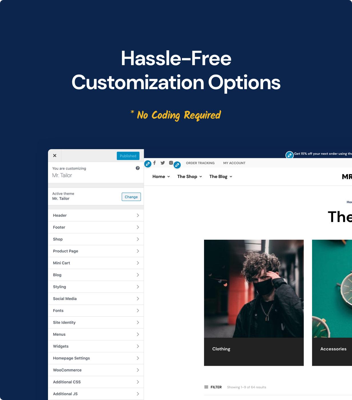 customization options - Mr. Tailor - eCommerce WordPress Theme for WooCommerce