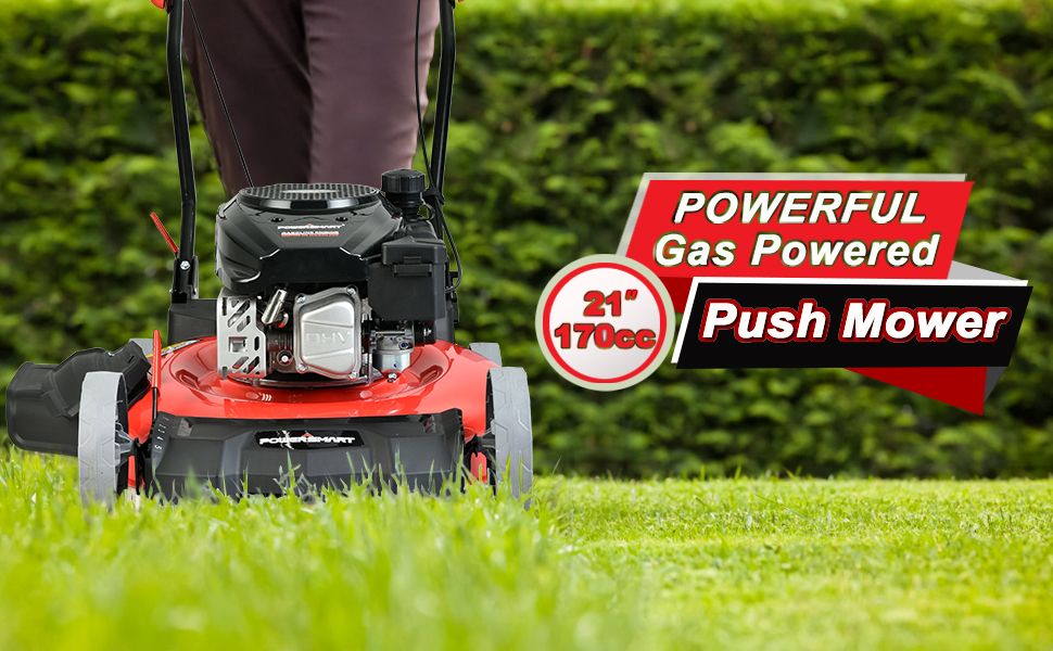 d4ff33c6 8acf 4d25 8b0f 16a606b7adda.  CR0,0,970,600 PT0 SX970 V1    - PowerSmart Lawn Mower, 21-inch & 170CC, Gas Powered Push Lawn Mower with 4-Stroke Engine, 2-in-1 Gas Mower in Color Red/Black, 5 Adjustable Heights (1.18''-3.0''), DB2321CR