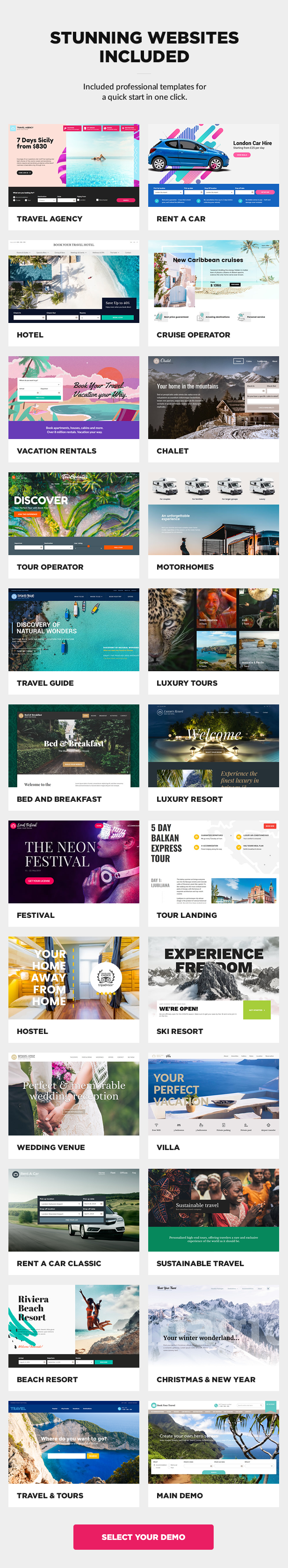 demo websites included2 - Book Your Travel - Online Booking WordPress Theme