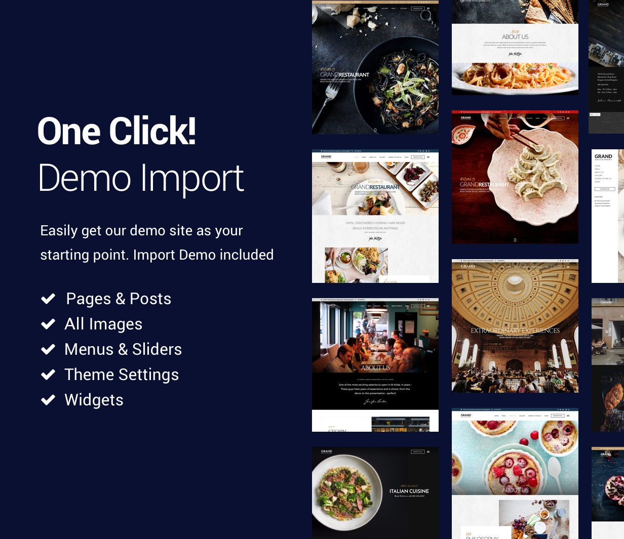 demo import - Grand Restaurant WordPress