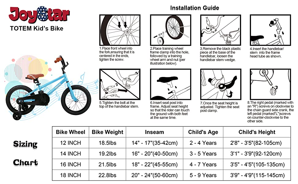 f0258cdf 3530 46a9 b017 5d79dd4beaa4.  CR0,0,1920,1188 PT0 SX970 V1    - JOYSTAR Totem Kids Bike with Training Wheels for 12 14 16 18 inch Bike, Kickstand for 18 inch Bike (Blue Ivory Pink Green Silver)