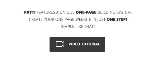 feature video tutorial - Patti - Parallax One Page WordPress Theme