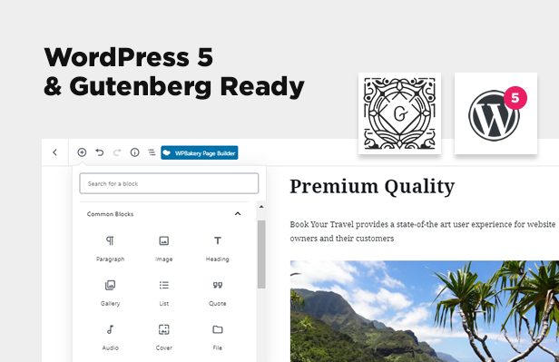 gutenberg - Book Your Travel - Online Booking WordPress Theme