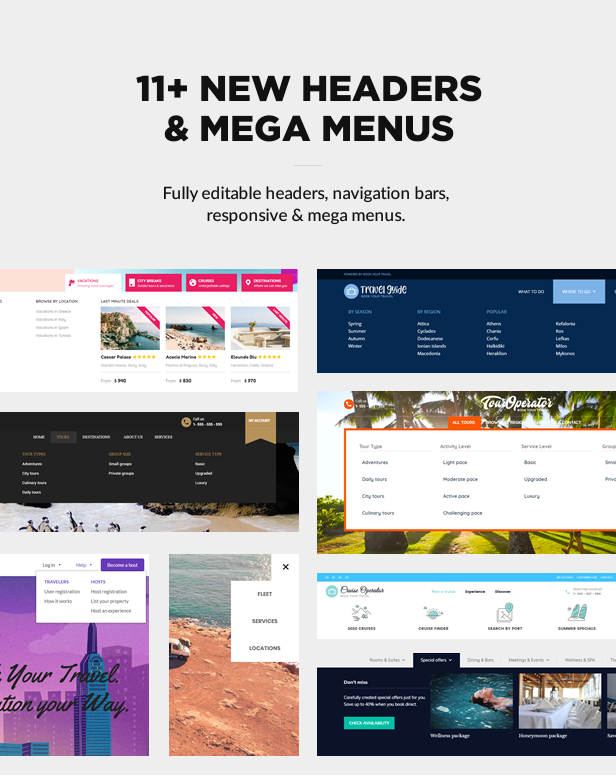 headers mega menus - Book Your Travel - Online Booking WordPress Theme