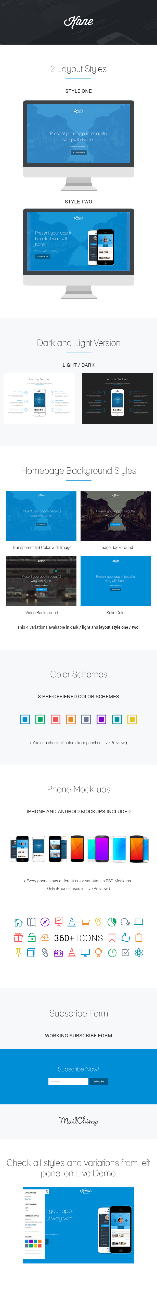 info 2 by rmizan d7dgguk - Kane - Responsive App Landing Page + Builder