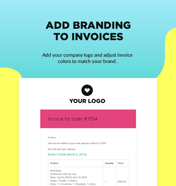 invoice branding1 - Book Your Travel - Online Booking WordPress Theme