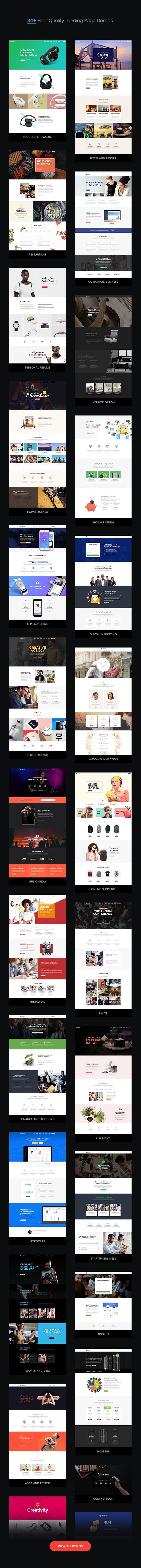 leadgen awesome stylish demos v3 - LeadGen - Multipurpose Marketing Landing Page Pack with HTML Builder