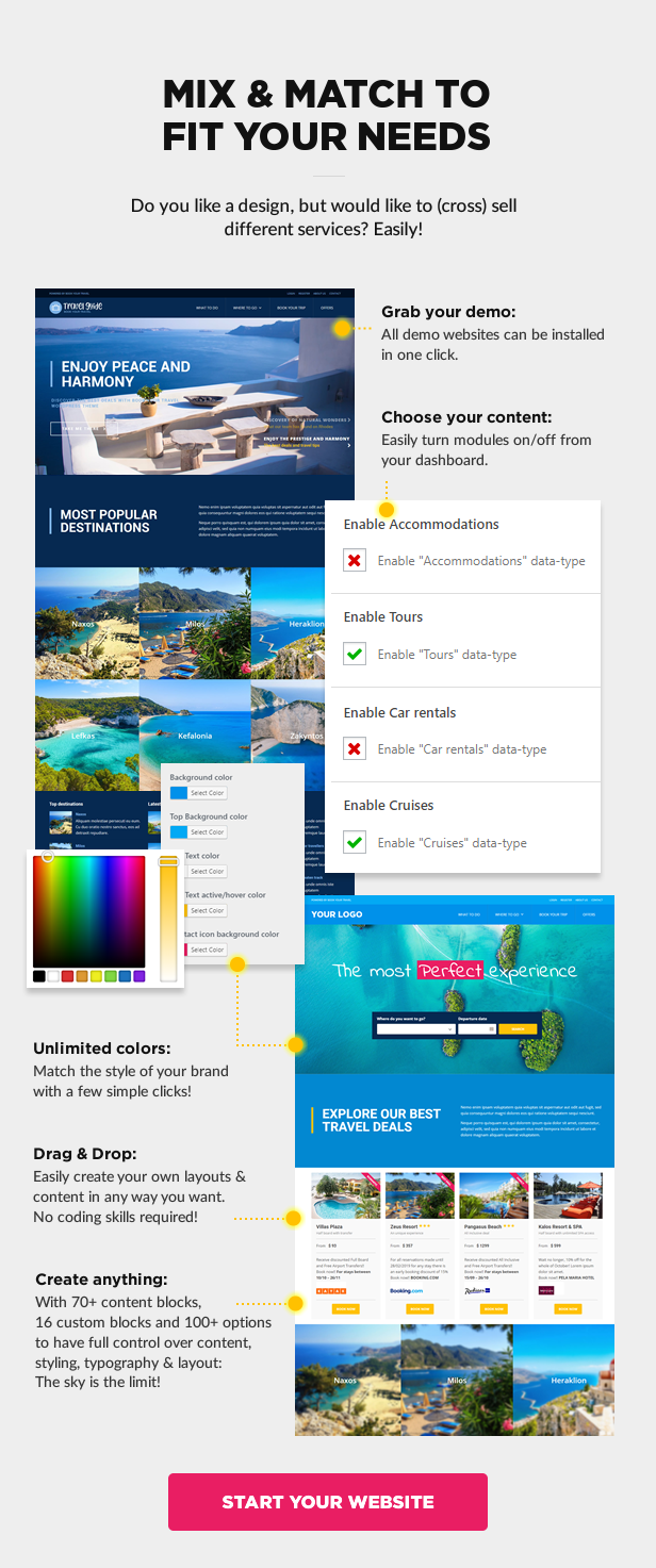 mix match fit your needs - Book Your Travel - Online Booking WordPress Theme