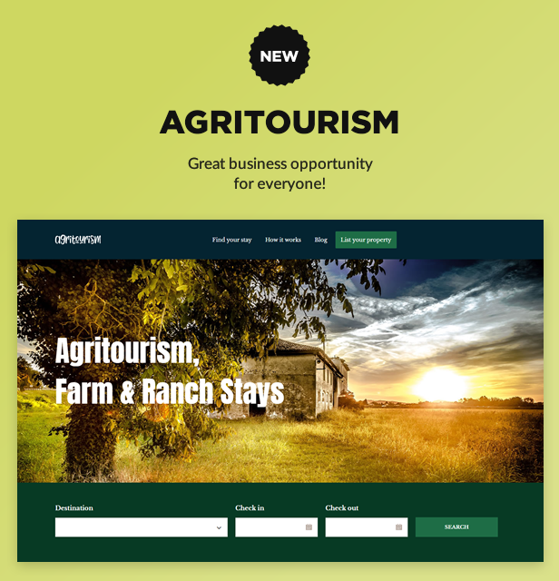 new agritourism - Book Your Travel - Online Booking WordPress Theme