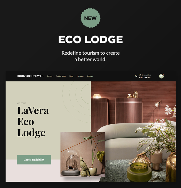 new eco lodge - Book Your Travel - Online Booking WordPress Theme