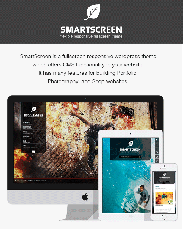overview - SmartScreen fullscreen responsive WordPress theme