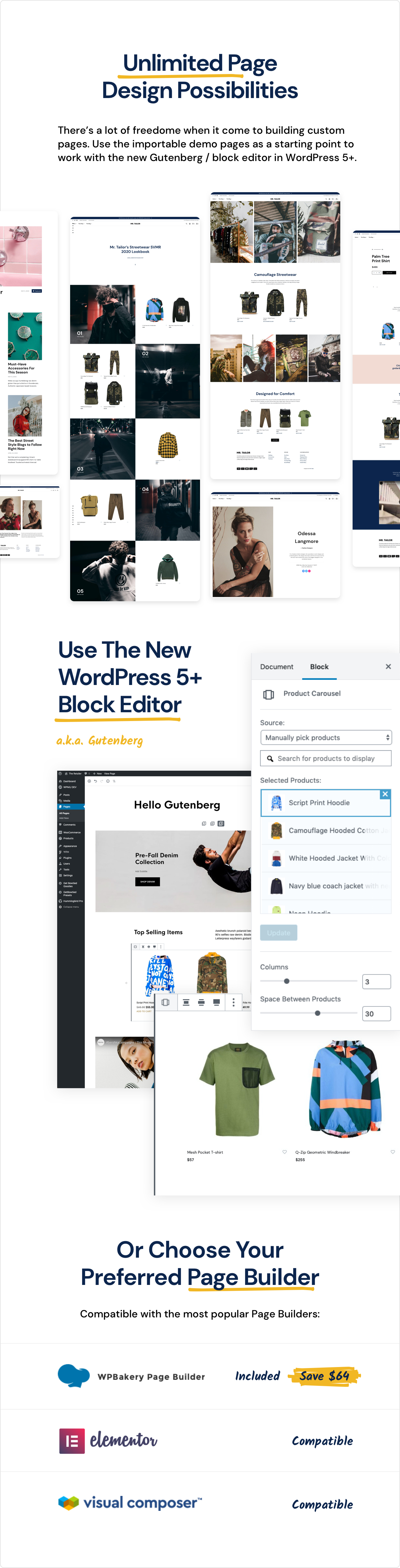 page building - Mr. Tailor - eCommerce WordPress Theme for WooCommerce