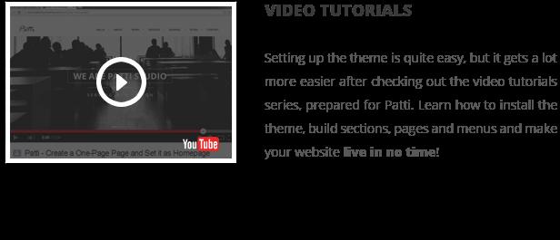 patti video tutorials - Patti - Parallax One Page WordPress Theme