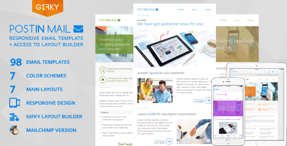 postinmail - Fresh Newsletter - Hybrid Email Template + Access to Gifky Layout Builder