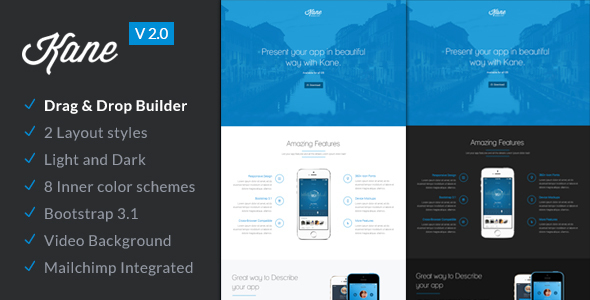 preview2.0.  large preview - Kane - Responsive App Landing Page + Builder