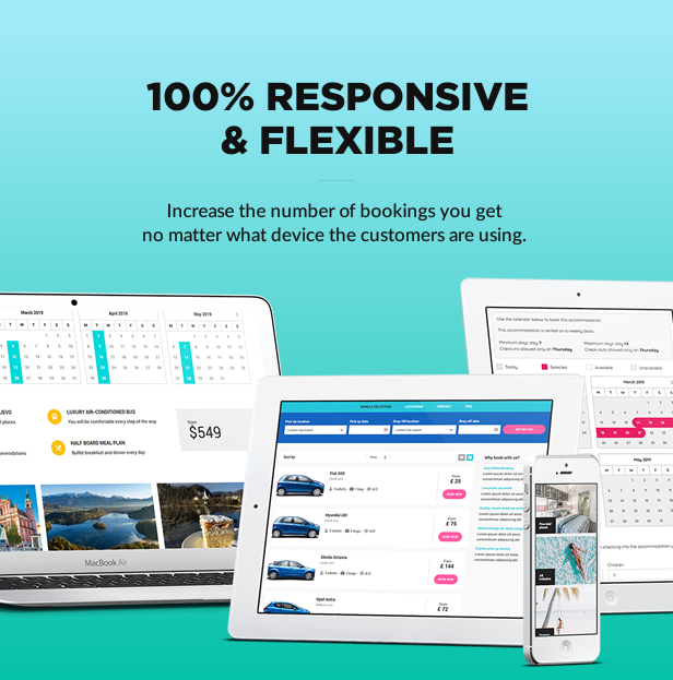 responsive flexible - Book Your Travel - Online Booking WordPress Theme
