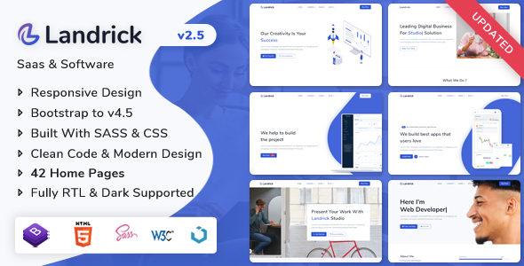 01 landrick.  large preview - Landrick - Saas & Software Landing Page Template