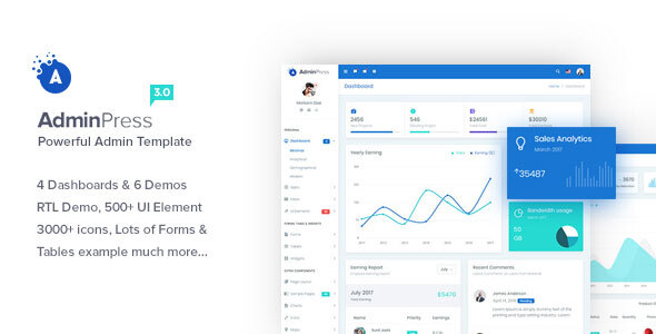01 preview.  large preview - Admin Press - Ultimate & Powerful Bootstrap 4 Dashboard Template