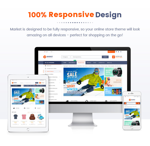 05 Responsvie Design4 - Market - Premium Responsive Magento 2 and 1.9 Store Theme with Mobile-Specific Layout (23 HomePages)