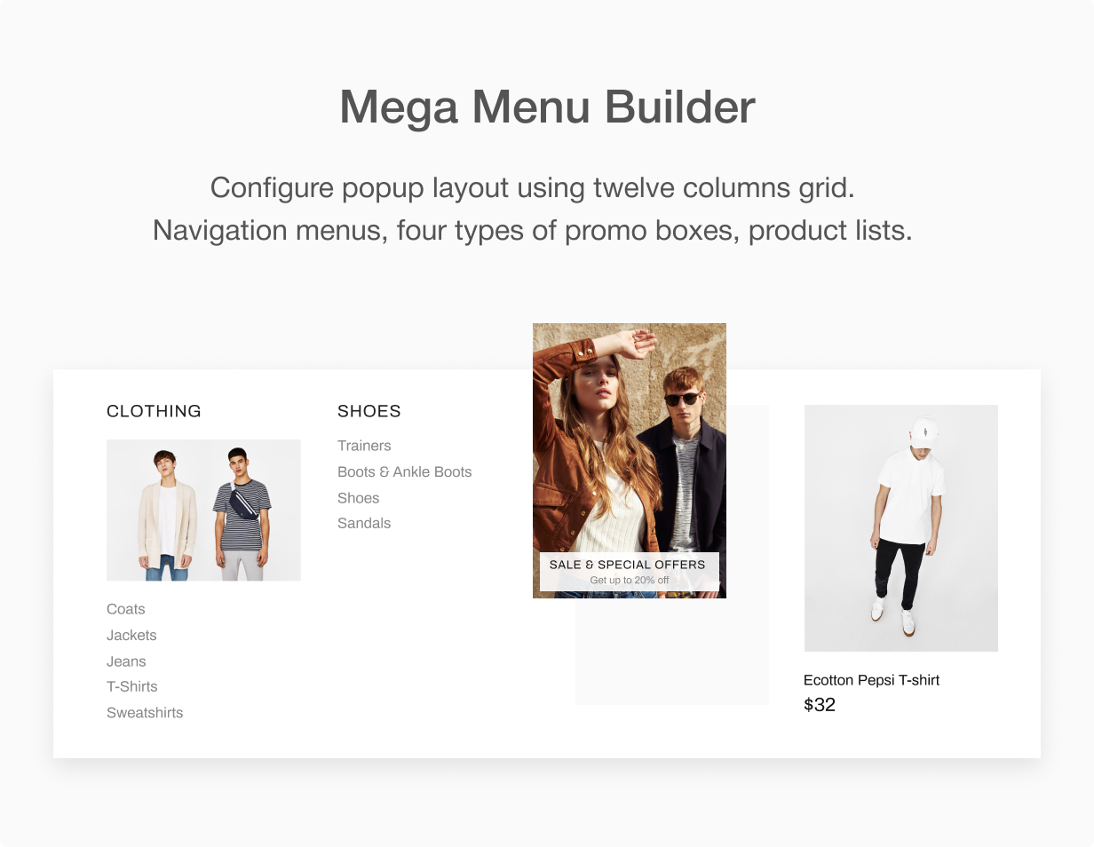 05 mega menu builder - Shella - Multipurpose Shopify theme, fastest with the banner builder