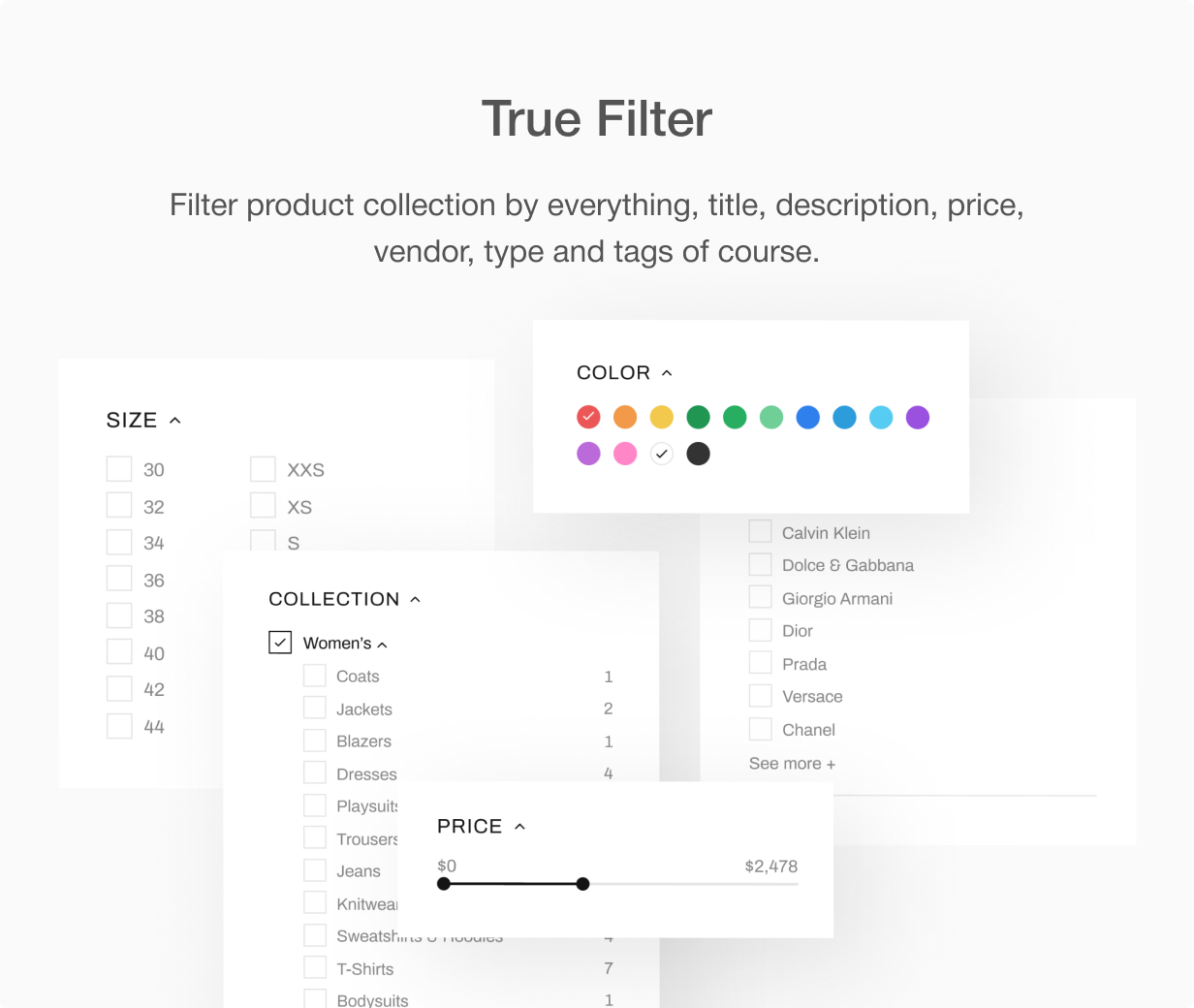 06 true filters - Shella - Multipurpose Shopify theme, fastest with the banner builder