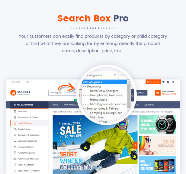 10 Search Box Pro - Market - Premium Responsive Magento 2 and 1.9 Store Theme with Mobile-Specific Layout (23 HomePages)