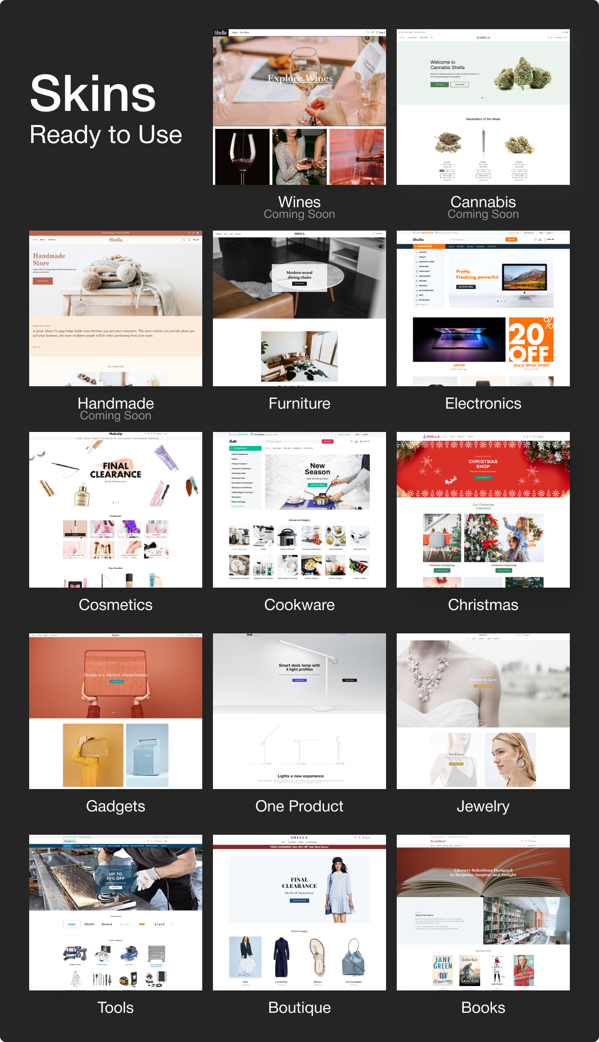 12 1 skins - Shella - Multipurpose Shopify theme, fastest with the banner builder