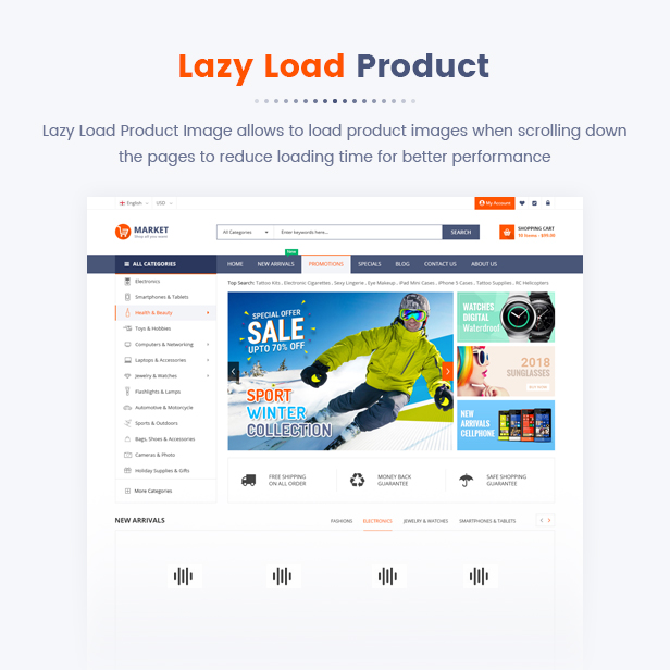 12 Lazy load Product - Market - Premium Responsive Magento 2 and 1.9 Store Theme with Mobile-Specific Layout (23 HomePages)