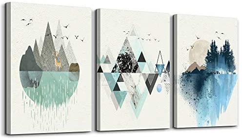 1604469327 41jVV6R8l L. AC  - Abstract Mountain in Daytime Canvas Prints Wall Art Paintings Abstract Geometry Wall Artworks Pictures for Living Room Bedroom Decoration, 12x16 inch/piece, 3 Panels Home bathroom Wall decor posters