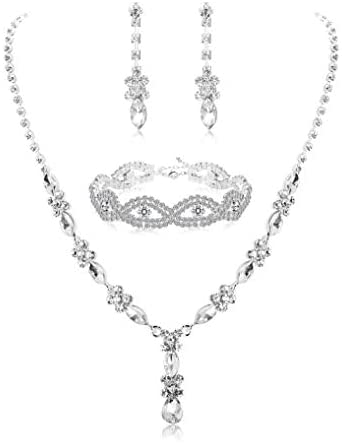 1605411716 31lmLCAvicL. AC  - Udalyn Rhinestone Bridesmaid Jewelry Sets for Women Necklace and Earring Set for Wedding with Crystal Bracelet