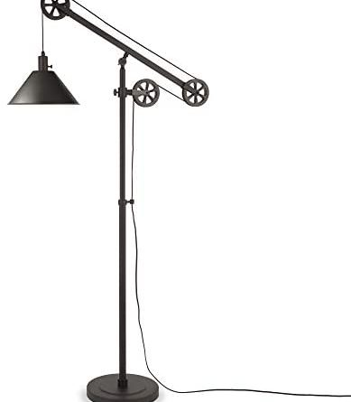 1605676567 31Ps ZptY4L. AC  389x445 - Henn&Hart FL0022 Modern Industrial Pulley System Contemporary Blackened Bronze with Metal Shade for Living Room, Office, Study Or Bedroom Floor Lamp, One Size, Black
