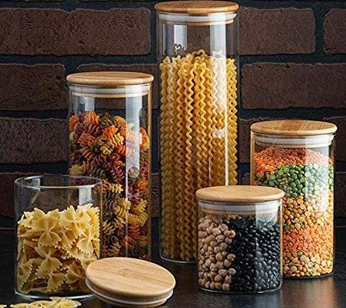 1605902274 61A0yDOxTvL. AC  500x445 - Canister Set of 5, Glass Kitchen Canisters with Airtight Bamboo Lid, Glass Storage Jars for Kitchen, Bathroom and Pantry Organization Ideal for Flour, Sugar, Coffee, Cookie Jar, Candy, Snack and More