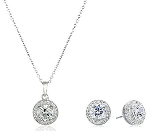 1606476663 41GjJSxIf1L. AC  498x445 - Amazon Collection Sterling Silver Cubic Zirconia Halo Pendant Necklace and Stud Earrings Jewelry Set