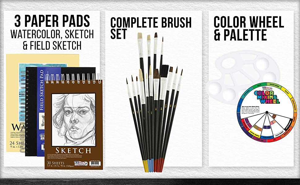 18aa337b b29c 42d8 bdec 1149054d0edf.  CR0,0,1940,1200 PT0 SX970 V1    - US Art Supply 20 Piece Artist Drawing, Sketch and Painting - Paper and Brush Accessory Pack