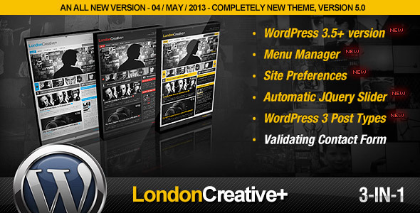 1 preview.  large preview - London Creative + (Portfolio & Blog WP Theme)