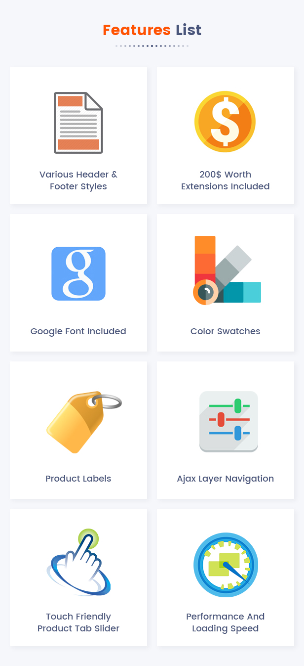 20 Features List1 - Market - Premium Responsive Magento 2 and 1.9 Store Theme with Mobile-Specific Layout (23 HomePages)