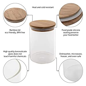 23547a1e 0afc 4a58 b6e8 11354e1e7d48.  CR0,0,1000,1000 PT0 SX300 V1    - Canister Set of 5, Glass Kitchen Canisters with Airtight Bamboo Lid, Glass Storage Jars for Kitchen, Bathroom and Pantry Organization Ideal for Flour, Sugar, Coffee, Cookie Jar, Candy, Snack and More