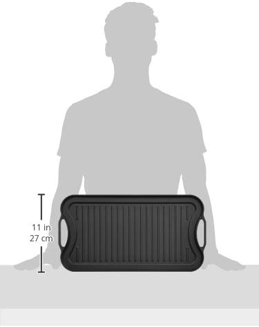 312SO9NOCzL. AC  - AmazonBasics Pre-Seasoned Cast Iron Reversible Grill/Griddle