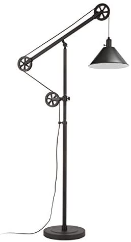 31EQcbaeH2L. AC  - Henn&Hart FL0022 Modern Industrial Pulley System Contemporary Blackened Bronze with Metal Shade for Living Room, Office, Study Or Bedroom Floor Lamp, One Size, Black