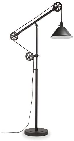 31K4fUw5RoL. AC  - Henn&Hart FL0022 Modern Industrial Pulley System Contemporary Blackened Bronze with Metal Shade for Living Room, Office, Study Or Bedroom Floor Lamp, One Size, Black