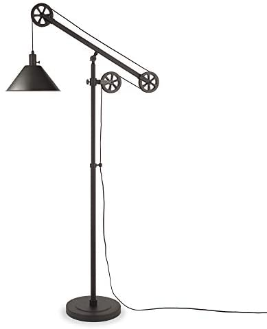 31Ps ZptY4L. AC  - Henn&Hart FL0022 Modern Industrial Pulley System Contemporary Blackened Bronze with Metal Shade for Living Room, Office, Study Or Bedroom Floor Lamp, One Size, Black