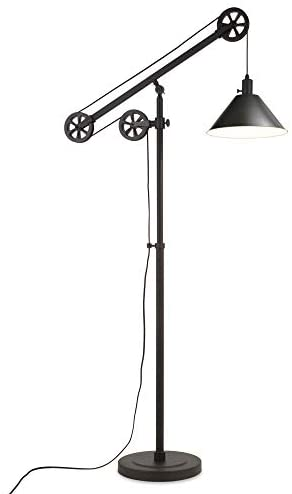31o7DSMOyWL. AC  - Henn&Hart FL0022 Modern Industrial Pulley System Contemporary Blackened Bronze with Metal Shade for Living Room, Office, Study Or Bedroom Floor Lamp, One Size, Black